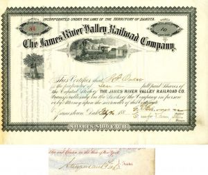 James River Valley Railroad Company signed by T.F. Oakes, Crawford Livingston and Geo. H. Earl