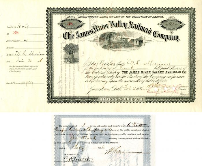 James River Valley Railroad Company issued to and signed by W.R. Merriam, Crawford Livingston and Geo. H. Earl