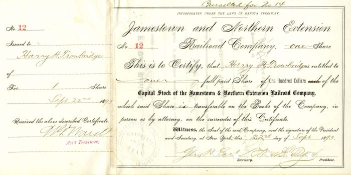 Jamestown and Northern Extension Railroad Company Signed by Geo. H. Earl