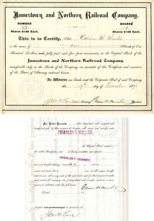 Jamestown and Northern Railroad Company issued to and signed by Edwin Winter and signed by Geo. H. Earl
