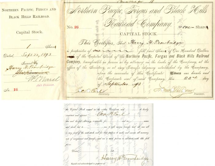 Northern Pacific, Fergus and Black Hills Railroad Company signed by Geo. H. Earl twice