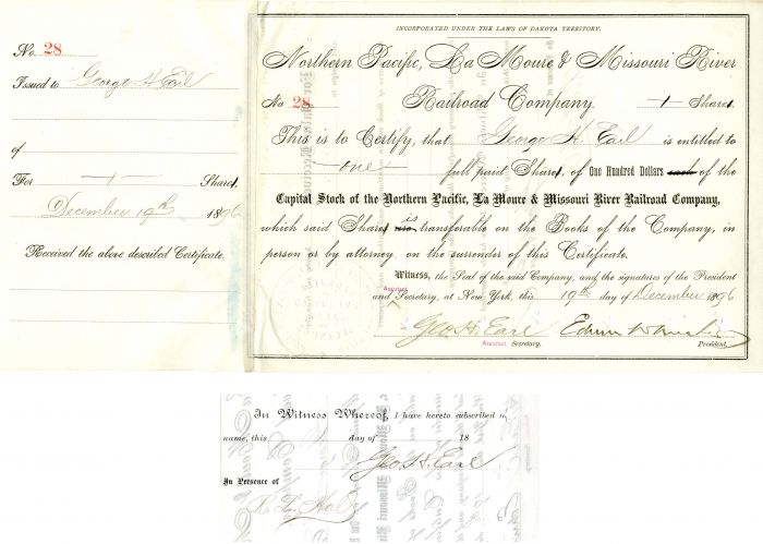 Northern Pacific, La Moure & Missouri River Railroad Company Issued to and signed by Geo. H. Earl twice and Edwin W. Winter