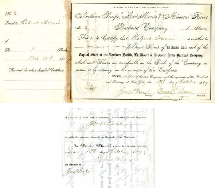 Northern Pacific, La Moure & Missouri River Railroad Company issued to and signed by Robert Harris and Geo. H. Earl