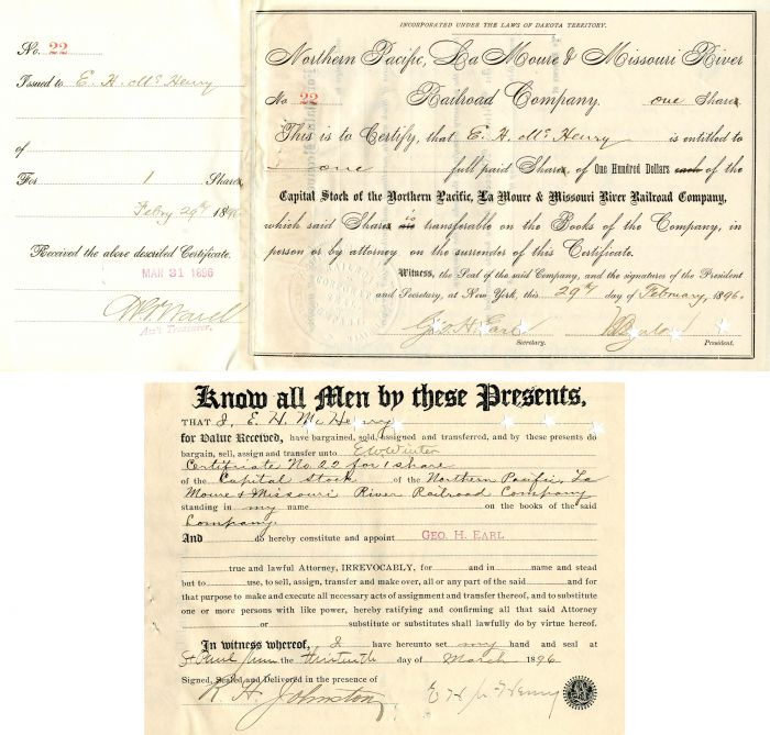 Northern Pacific, La Moure & Missouri River Railroad Company issued to and signed by E.H. McHenry and Geo. H. Earl