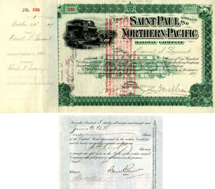 Saint Paul and Northern Pacific Railway Company Issued to and signed by Daniel S. Lamont, C.S. Mellen and Geo. H. Earl