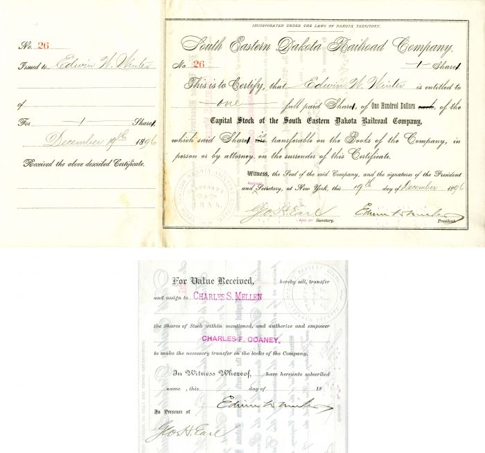 South Eastern Dakota Railroad Company Issued to and signed by Edwin Winter and Geo. H. Earl