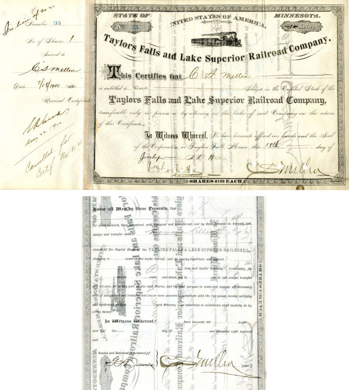 Taylor Falls and Lake Superior Railroad Company Issued to and signed by C.S. Mellen