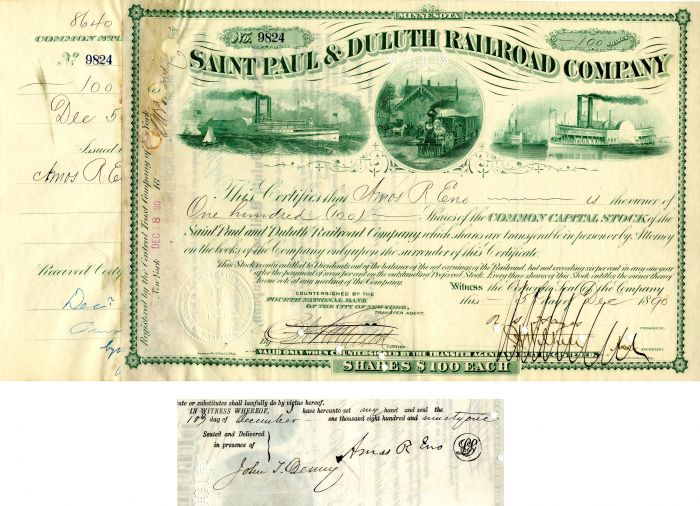 Saint Paul & Duluth Railroad Company Issued to and signed by Amos R. Eno