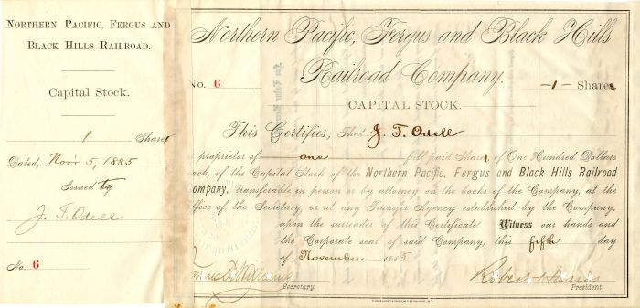 Northern Pacific, Fergus and Black Hills Railroad Company signed by Robert Harris