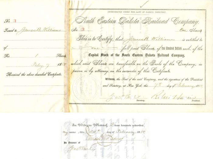 South Eastern Dakota Railroad Company Issued to and signed by James B. Williams and Robert Harris