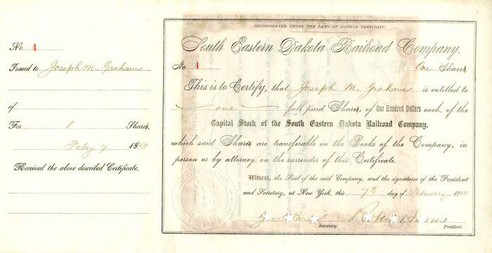 South Eastern Dakota Railroad Company signed by Robert Harris