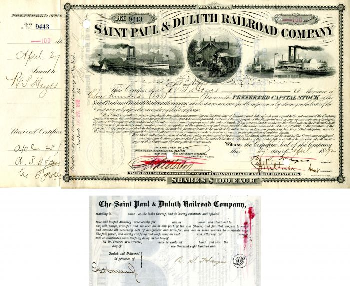 Saint Paul & Duluth Railroad Company Issued to and signed by R.S. Hayes
