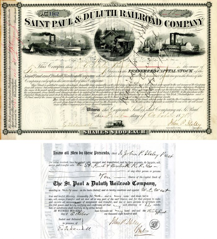Saint Paul & Duluth Railroad Company Issued to and signed by John P. Ilsley