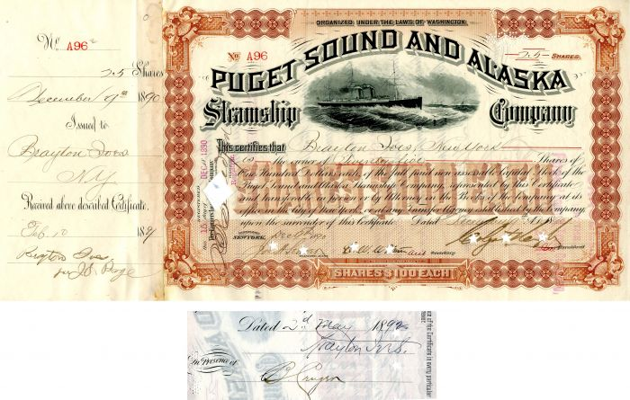 Puget Sound and Alaska Steamship Company Issued to and signed by Brayton Ives and signed by Colgate Hoyt - Stock Certificate