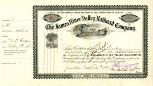 James River Valley Railroad Company signed by Crawford Livingston
