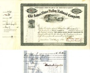 James River Valley Railroad Company issued to and signed by Johnston Livingston, Crawford Livingston and W.R. Merriam