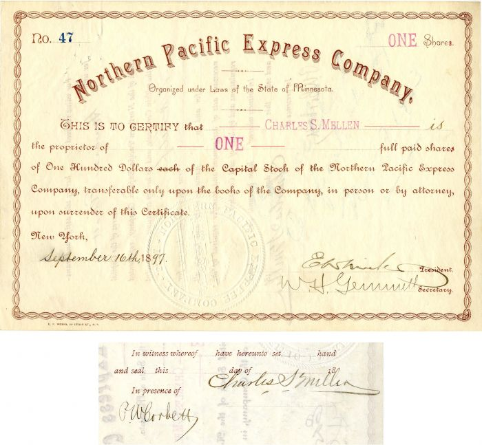 Northern Pacific Express Company Issued to and signed by Charles S. Mellen