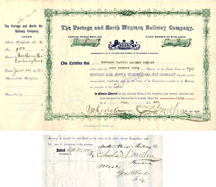 Portage and North Western Railway Company Signed by Charles S. Mellen