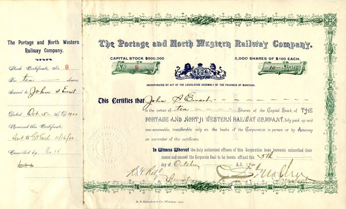 Portage and North Western Railway Company Signed by C. S. Mellen