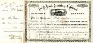 St. Cloud, Grantsburg & Ashland Railroad Company Signed by C. S. Mellen