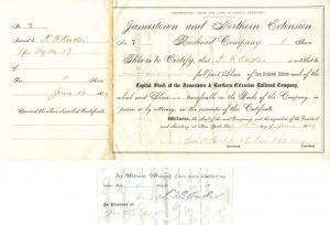 Jamestown and Northern Extension Railroad Company issued to and signed by T.F. Oakes