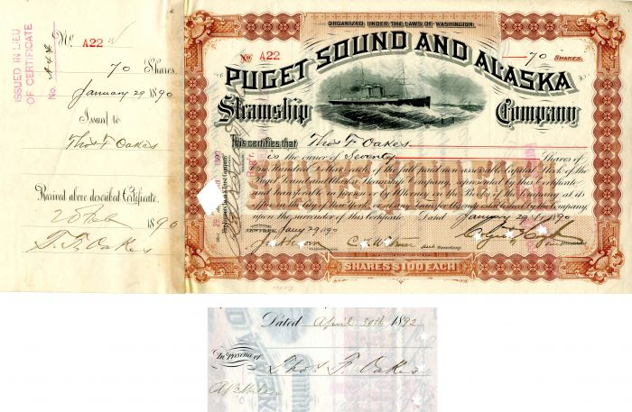 Puget Sound and Alaska Steamship Company issued to and signed by Thos. F. Oakes and Colgate Hoyt