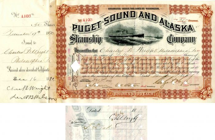 Puget Sound and Alaska Steamship Company issued to and signed by Charles B. Wright and T.F. Oakes - Stock Certificate