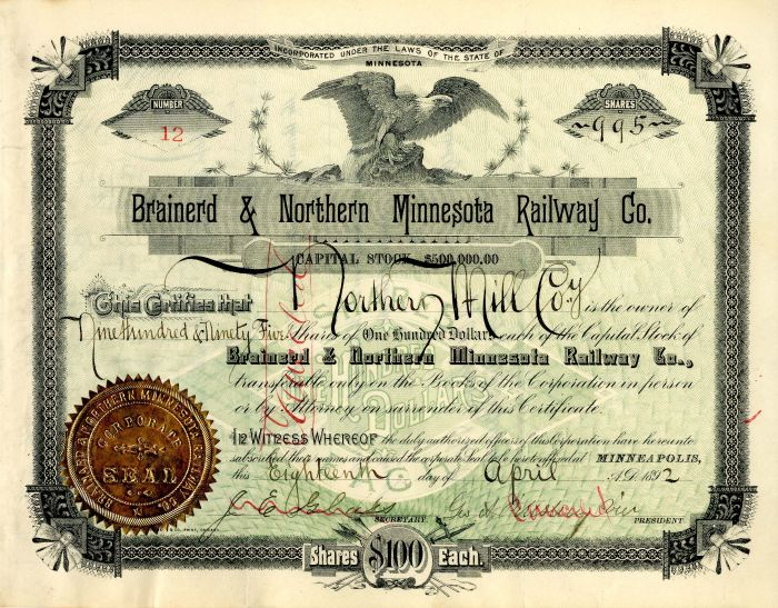 Brainerd & Northern Minnesota Railway Co. signed by Geo. A. Pillsbury