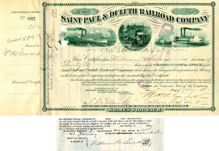 Saint Paul & Duluth Railroad Company Issued to and signed by William H. Seward