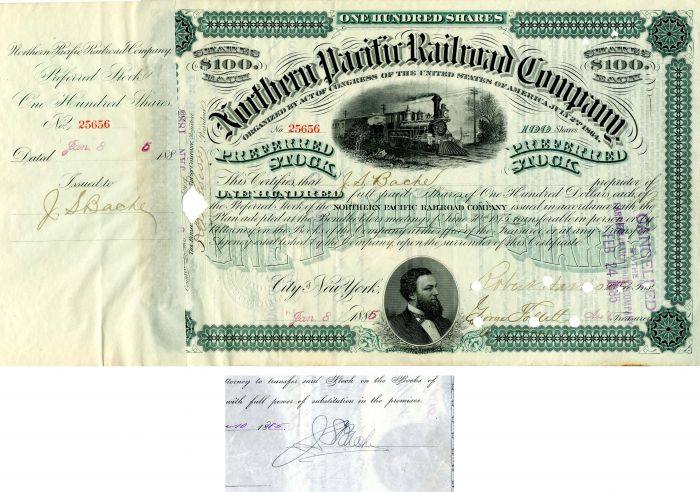 Northern Pacific Railroad Company issued to and signed by J.S. Bache