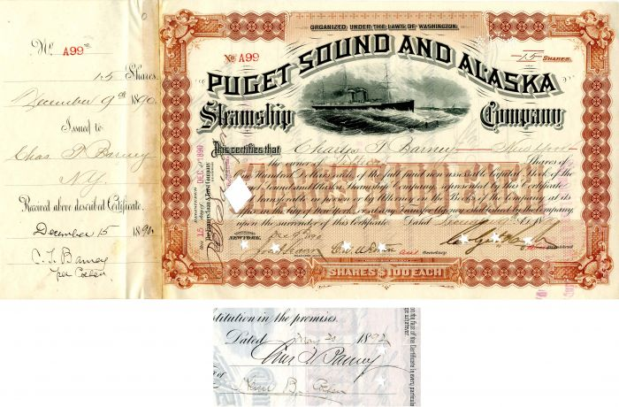 Puget Sound and Alaska Steamship Company signed by Charles T. Barney - Stock Certificate
