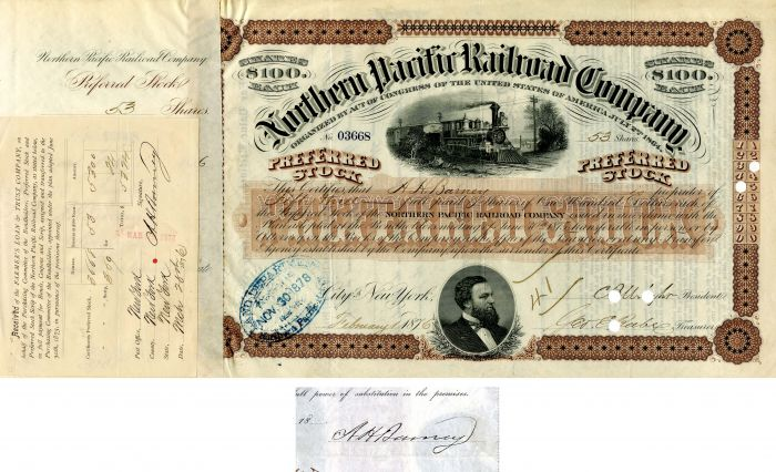 Northern Pacific Railroad Company issued to and signed by A.H. Barney
