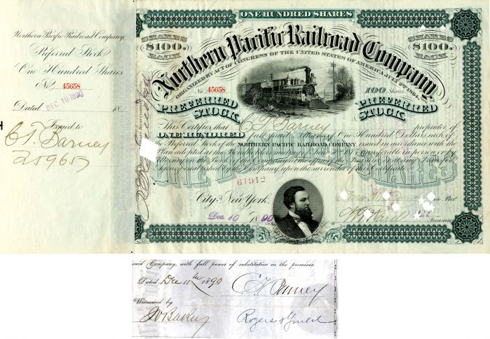Northern Pacific Railroad Company issued to and signed by C.T. Barney