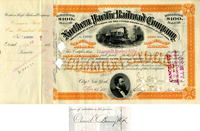 Northern Pacific Railroad Company issued to Charles D. Barney & Co.