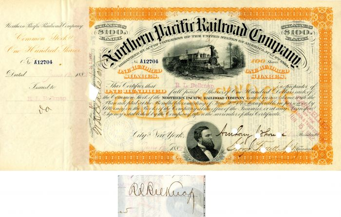 Northern Pacific Railroad Company issued to and signed by R.L. Belknap