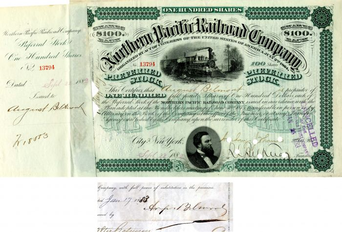 Northern Pacific Railroad Company issued to and signed by August Belmont