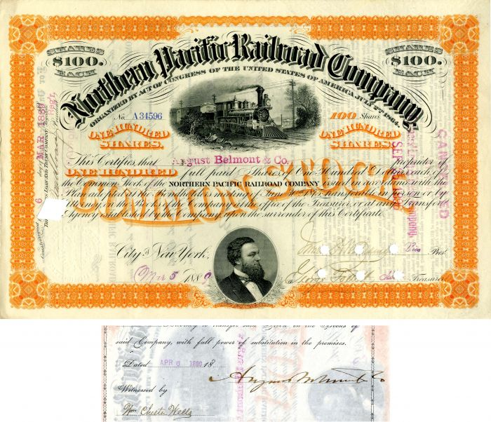 Northern Pacific Railroad Company issued to and signed by August Belmont & Co.