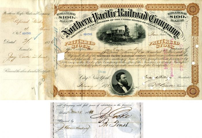 Northern Pacific Railroad Company issued to and signed by Jay Cooke in trust - Stock Certificate