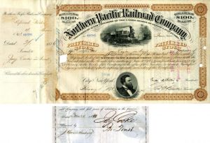 Set of 4 Gulf Mobile and Northern Railroad Company Stock Certificates