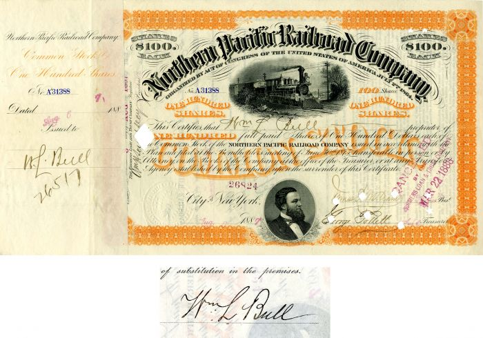 Northern Pacific Railroad Company issued to and signed by Wm L. Bull