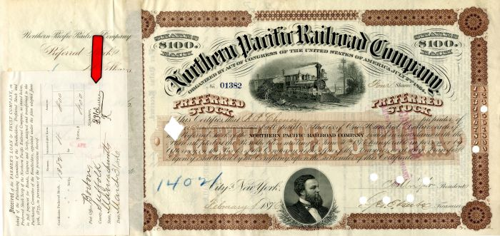 Northern Pacific Railroad Company issued to and signed by B.P. Cheney