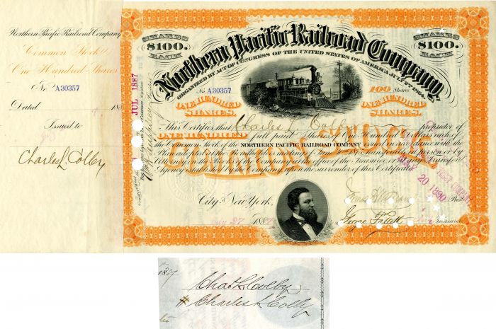 Northern Pacific Railroad Company issued to and signed by Charles L. Colby - SOLD
