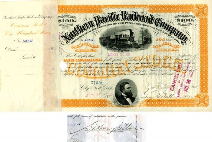 Northern Pacific Railroad Company issued to and signed by Sidney Dillon