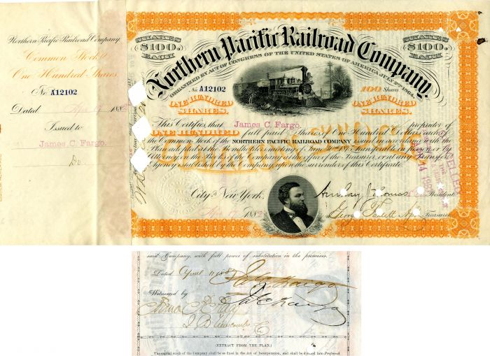 Northern Pacific Railroad Company issued to and signed by James C. Fargo - Stock Certificate