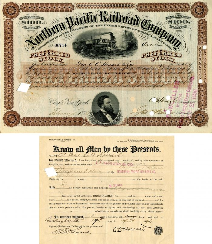 Northern Pacific Railroad Company issued to and signed by Gen'l. O.O. Howard - Stock Certificate