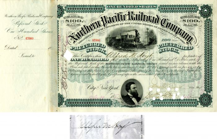 Northern Pacific Railroad Company issued to and signed by Alfred M. Hoyt - Stock Certificate
