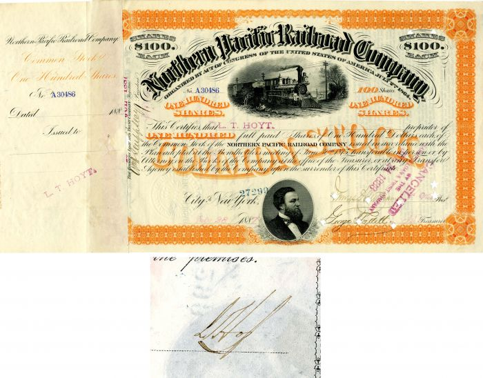 Northern Pacific Railroad Company issued to and signed by L.T. Hoyt - Stock Certificate
