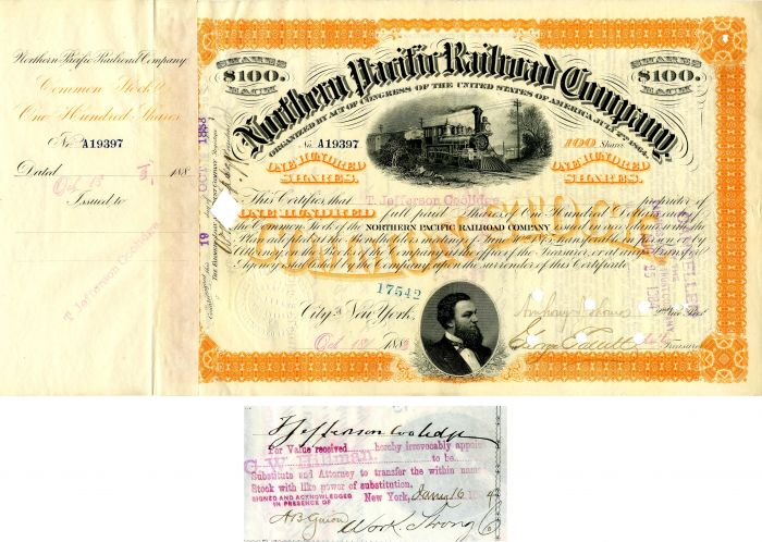 Northern Pacific Railroad Company issued to and signed by T. Jefferson Coolidge