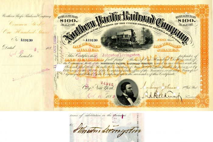 Northern Pacific Railroad Company issued to and signed by Johnston Livingston