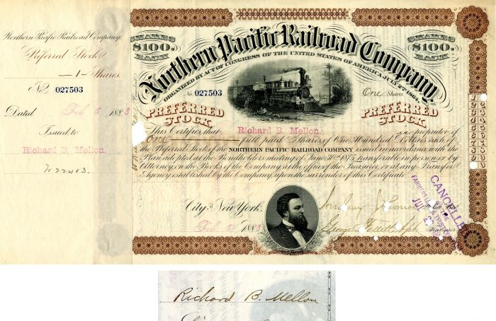 Northern Pacific Railroad Company issued to and signed by Richard B. Mellon